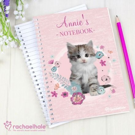 Personalised Rachael Hale A5 Notebook - Cute Kitten